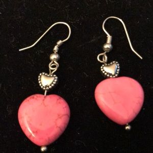 Jewelry - Dangle sterling silver & pink heart earrings